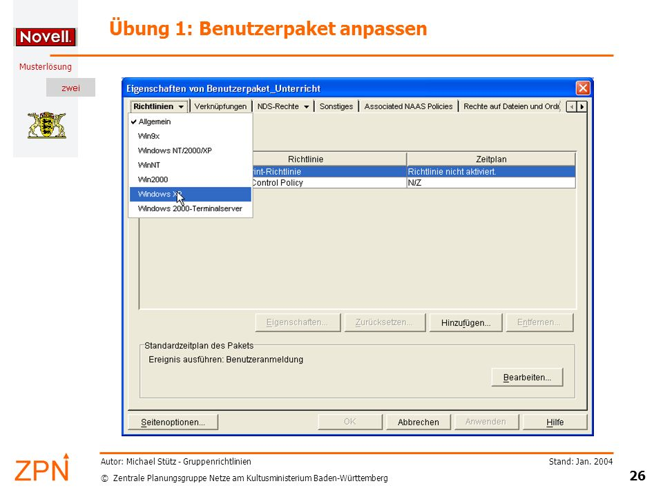 Übung 1: Benutzerpaket anpassen