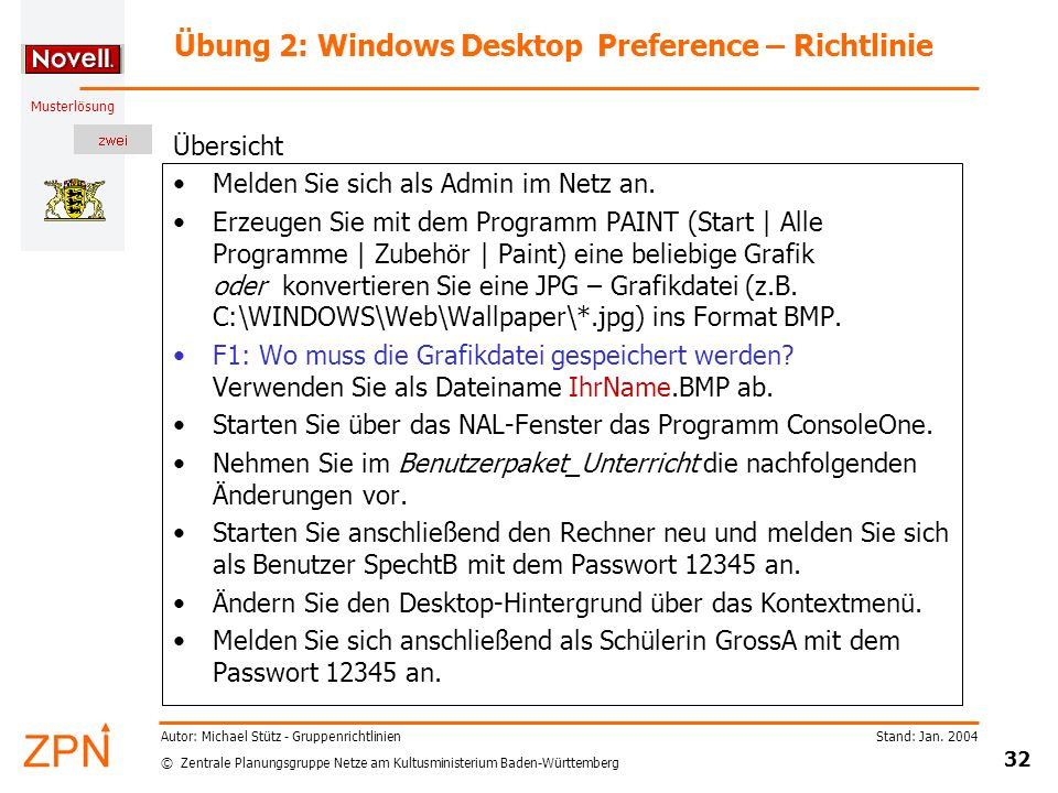 Übung 2: Windows Desktop Preference – Richtlinie