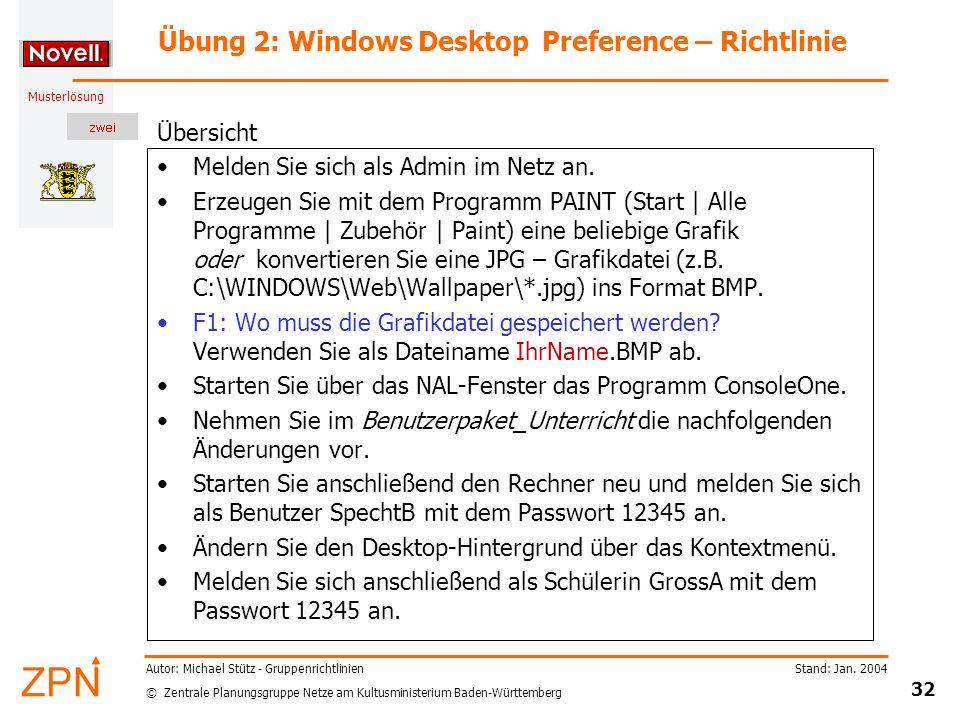 Übung 2: Windows Desktop Preference – Richtlinie