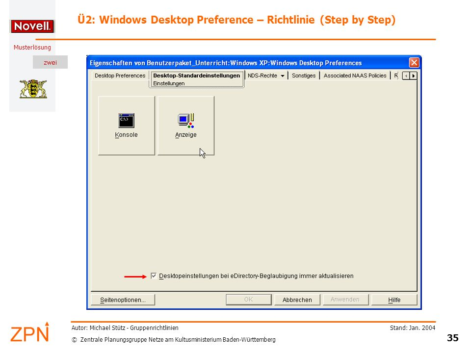 Ü2: Windows Desktop Preference – Richtlinie (Step by Step)