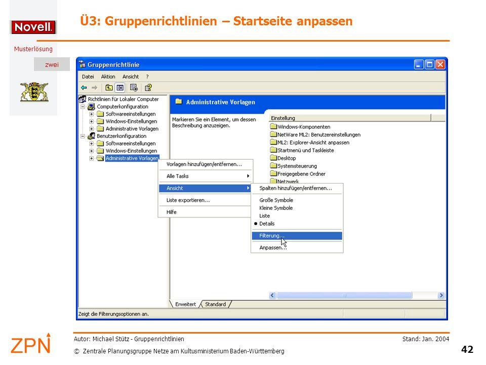 Ü3: Gruppenrichtlinien – Startseite anpassen