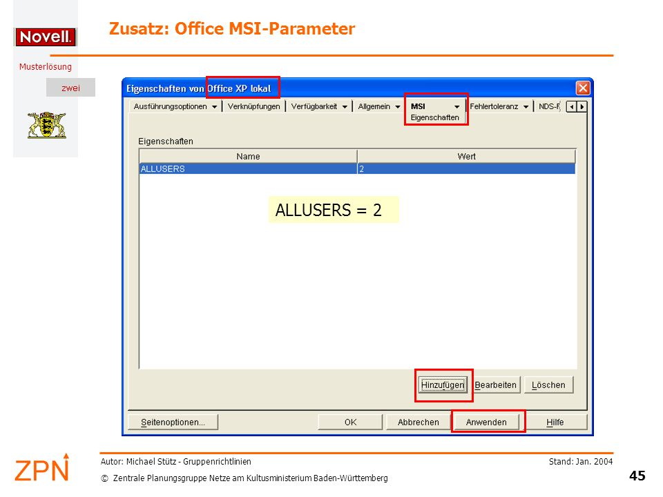 Zusatz: Office MSI-Parameter