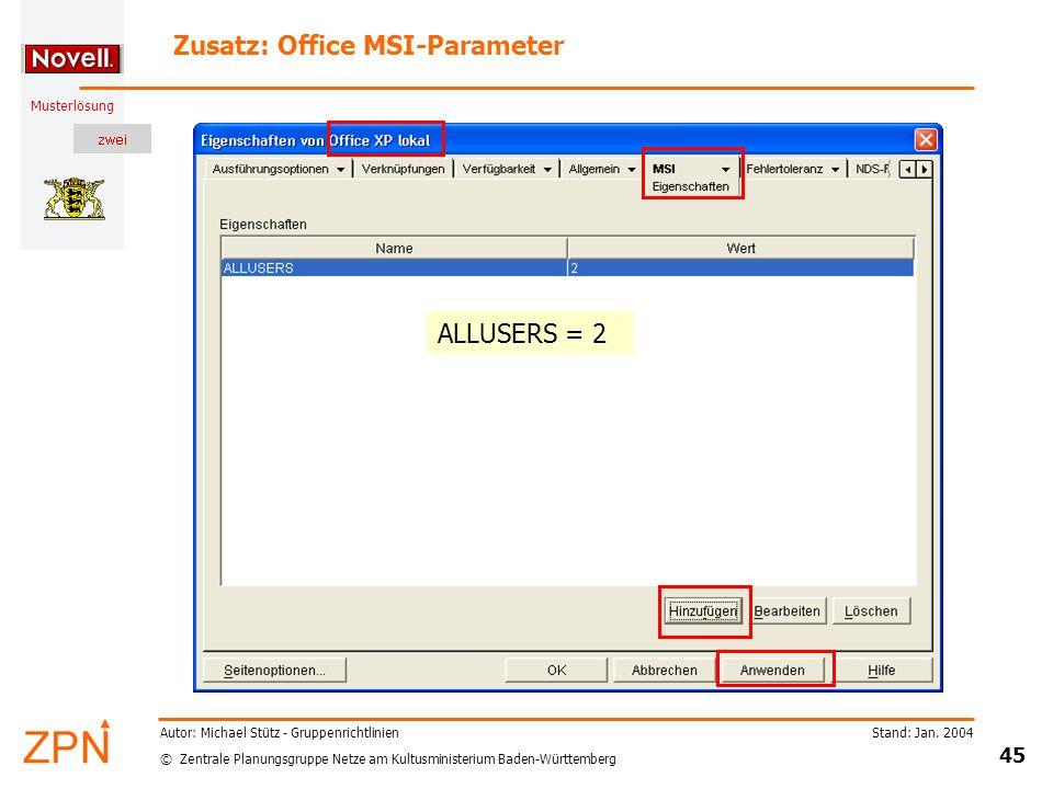 Zusatz: Office MSI-Parameter