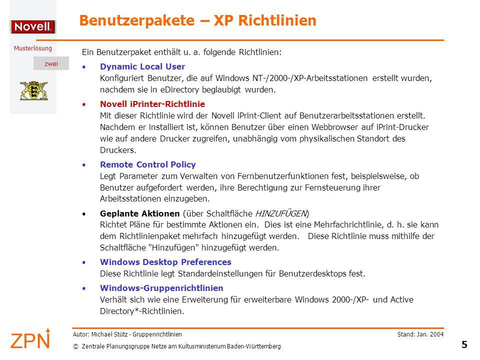 Benutzerpakete – XP Richtlinien