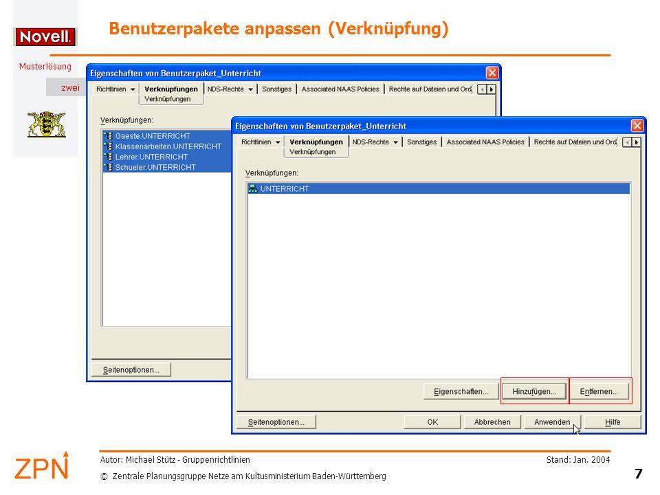 Benutzerpakete anpassen (Verknüpfung)