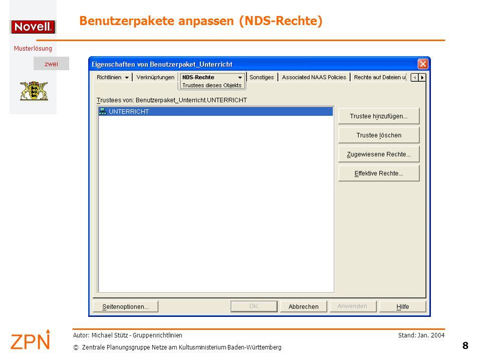 Benutzerpakete anpassen (NDS-Rechte)