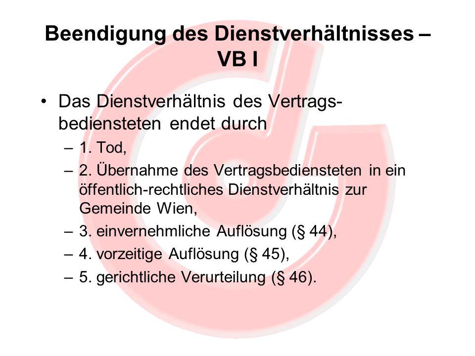 Beendigung des Dienstverhältnisses – VB I