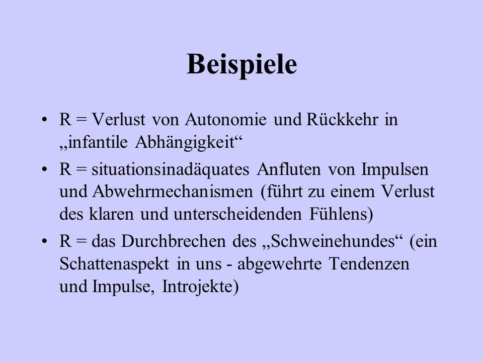 """Beispiele R = Verlust von Autonomie und Rückkehr in """"infantile Abhängigkeit"""