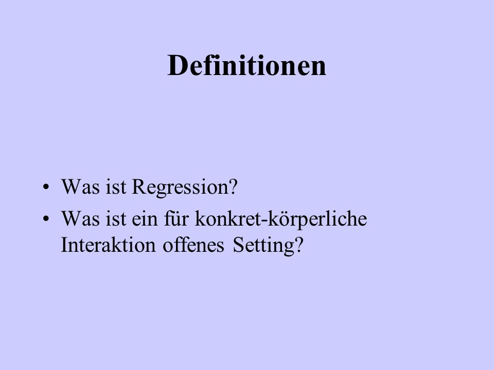 Definitionen Was ist Regression