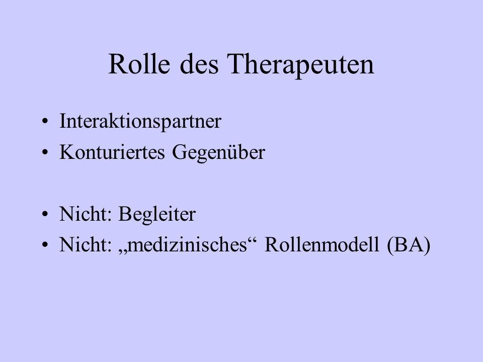Rolle des Therapeuten Interaktionspartner Konturiertes Gegenüber
