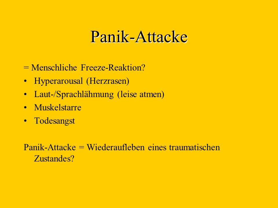 Panik-Attacke = Menschliche Freeze-Reaktion Hyperarousal (Herzrasen)