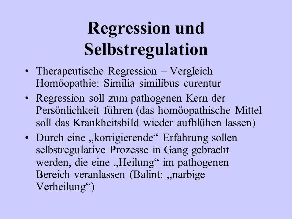 Regression und Selbstregulation