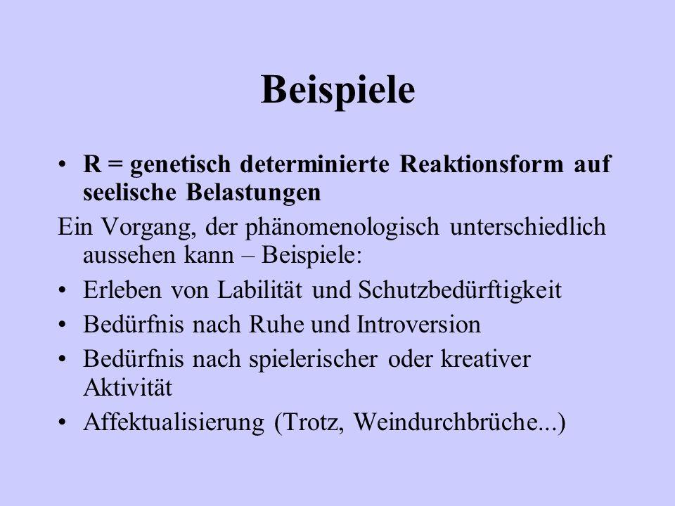 Beispiele R = genetisch determinierte Reaktionsform auf seelische Belastungen.