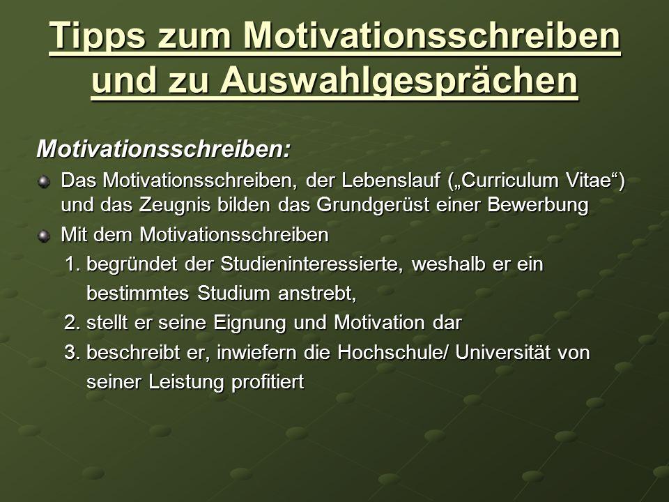 Tipps zum Motivationsschreiben und zu Auswahlgesprächen