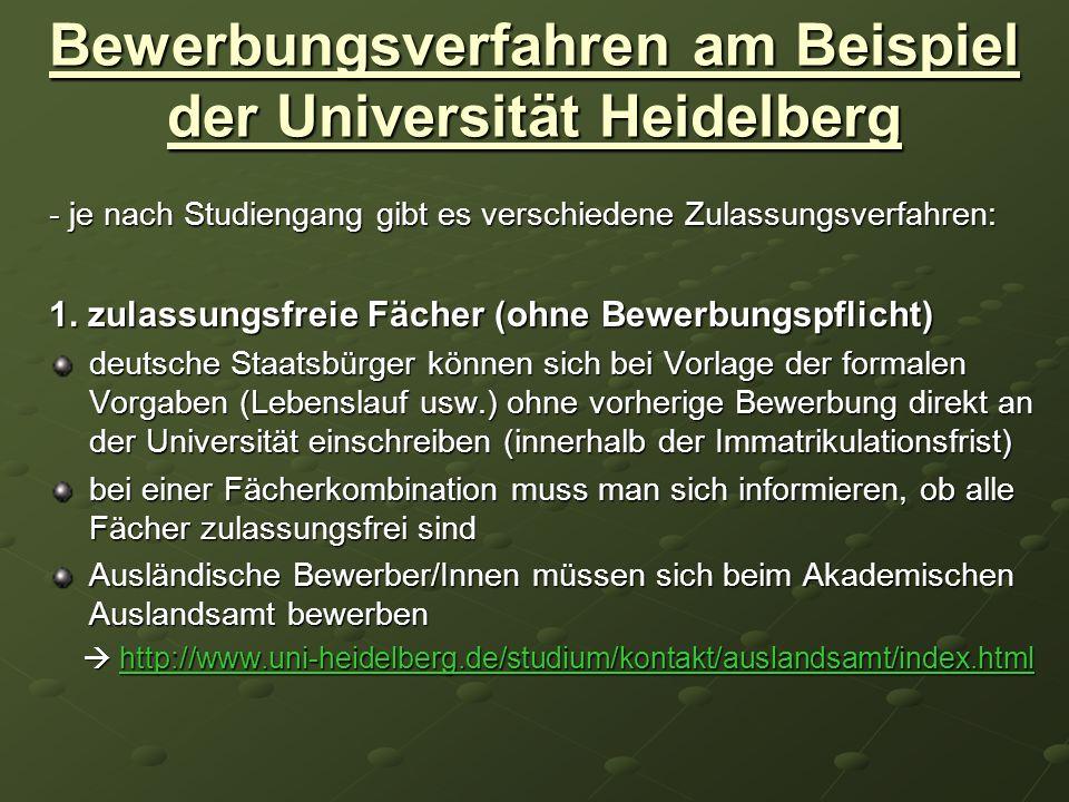 Bewerbungsverfahren am Beispiel der Universität Heidelberg