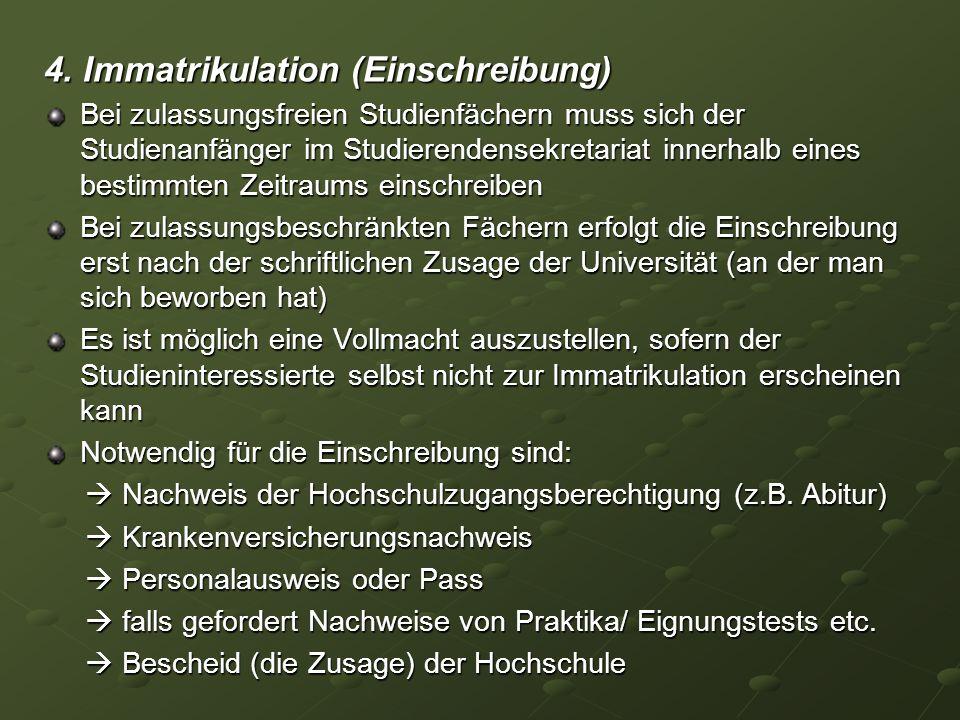 4. Immatrikulation (Einschreibung)