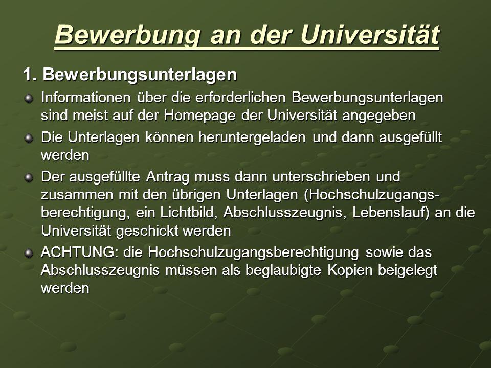 Bewerbung an der Universität