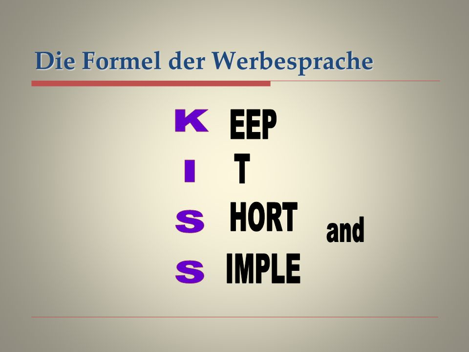 Die Formel der Werbesprache