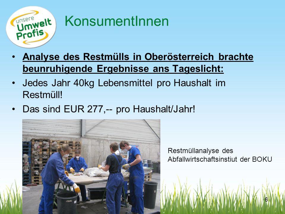 KonsumentInnen Analyse des Restmülls in Oberösterreich brachte beunruhigende Ergebnisse ans Tageslicht: