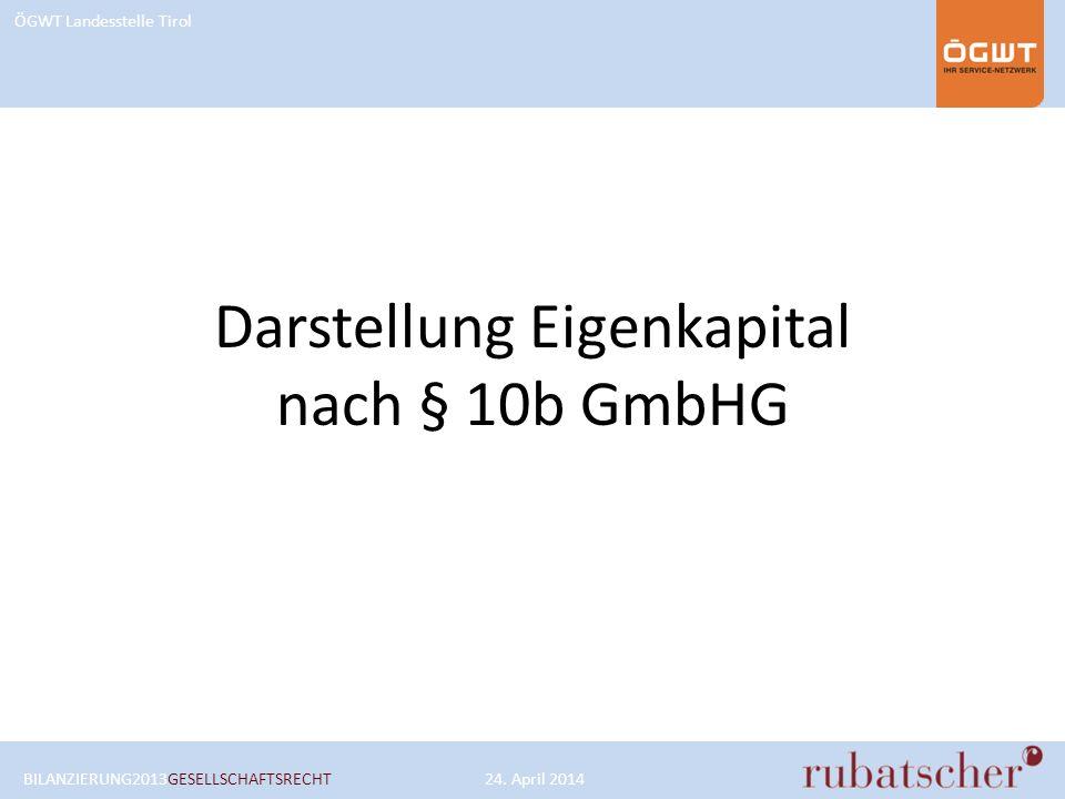 Darstellung Eigenkapital nach § 10b GmbHG