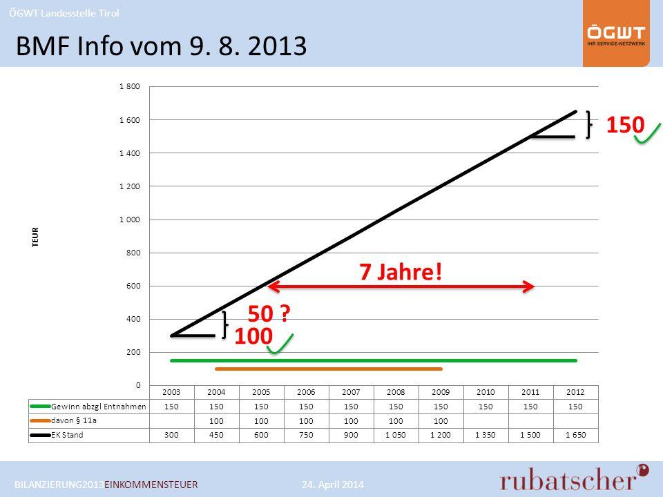 BMF Info vom 9. 8. 2013 150 7 Jahre! 50 100 BILANZIERUNG2013EINKOMMENSTEUER 24. April 2014