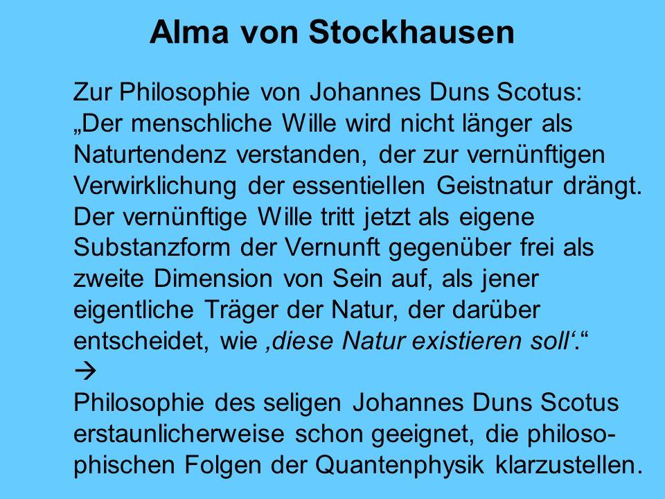 Alma von Stockhausen Zur Philosophie von Johannes Duns Scotus: