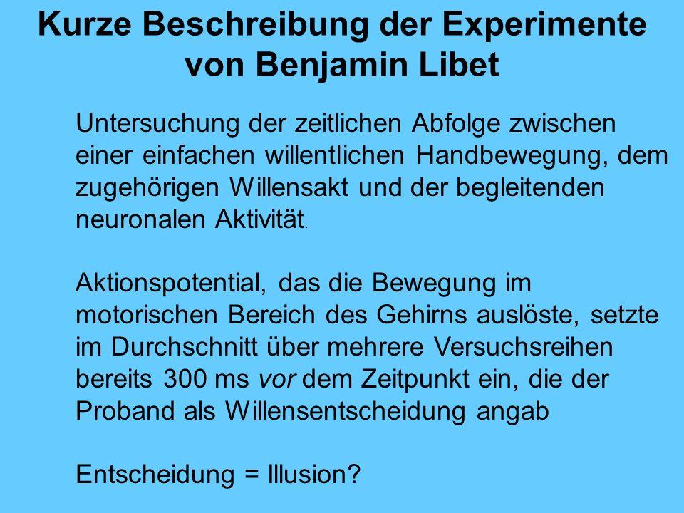 Kurze Beschreibung der Experimente von Benjamin Libet