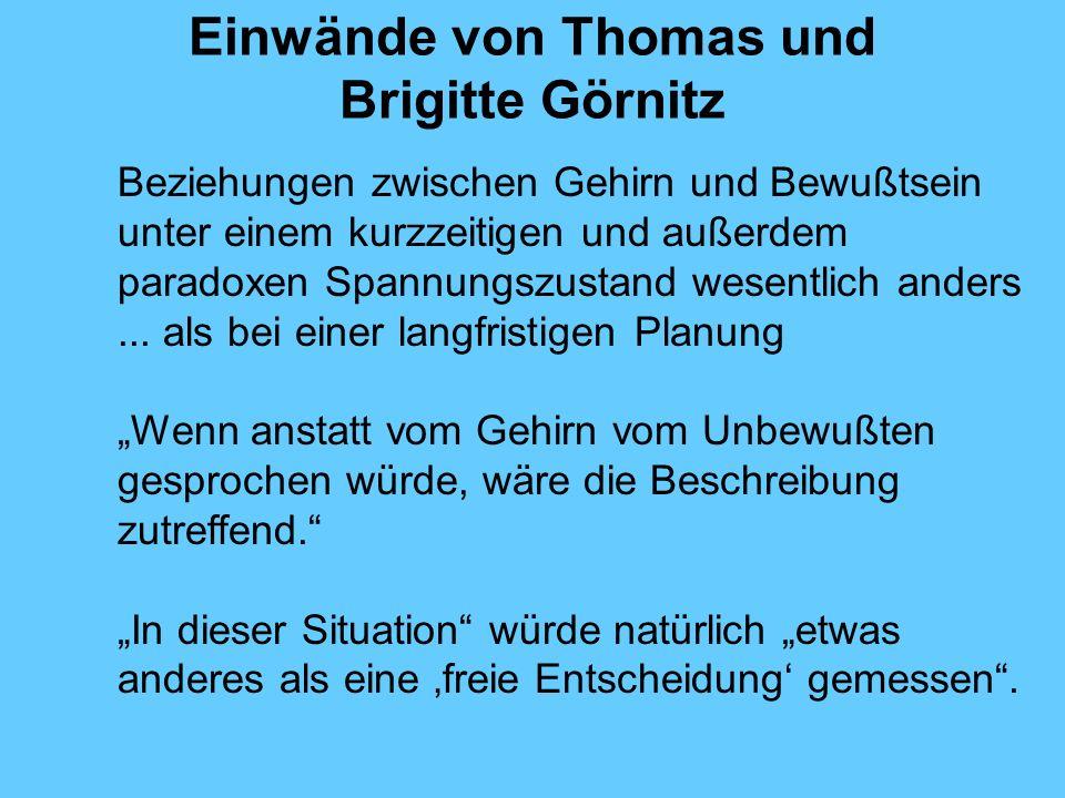 Einwände von Thomas und Brigitte Görnitz