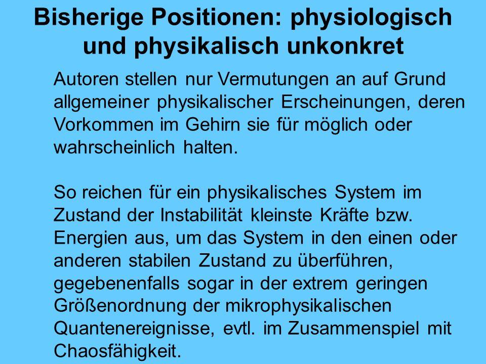 Bisherige Positionen: physiologisch und physikalisch unkonkret