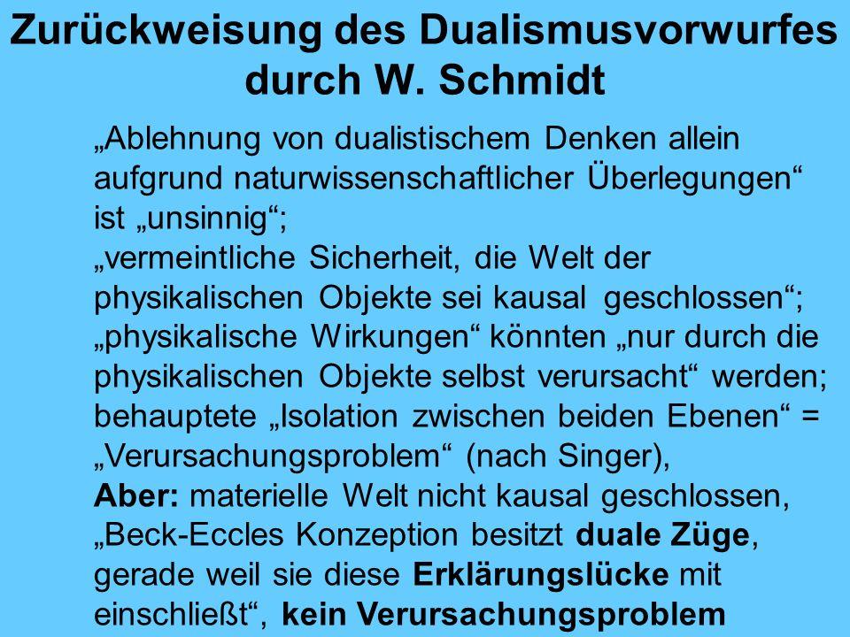 Zurückweisung des Dualismusvorwurfes durch W. Schmidt