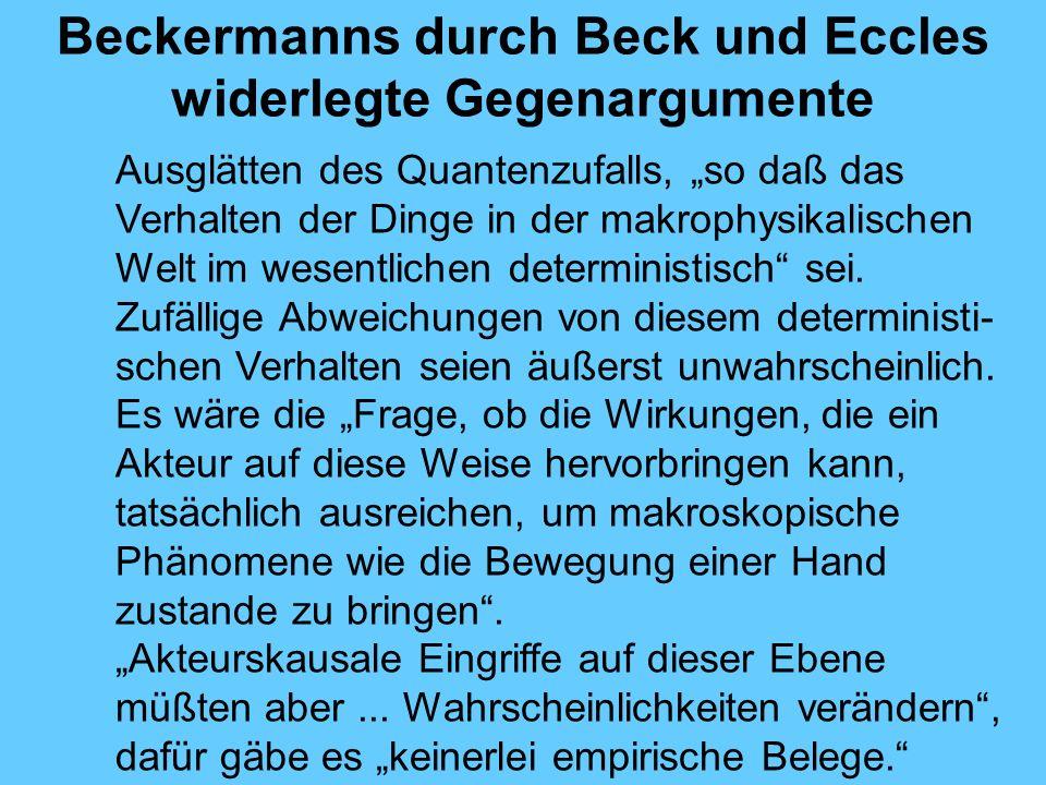 Beckermanns durch Beck und Eccles widerlegte Gegenargumente