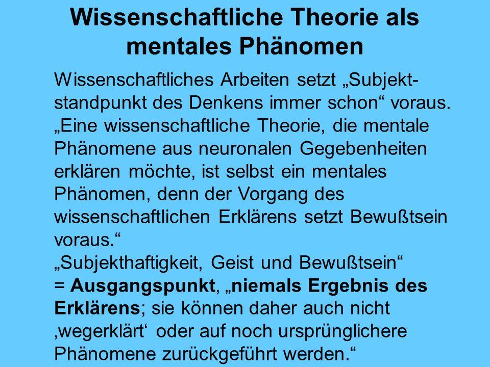 Wissenschaftliche Theorie als mentales Phänomen