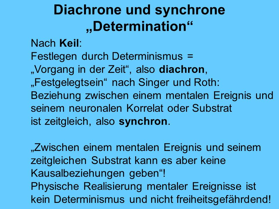 """Diachrone und synchrone """"Determination"""