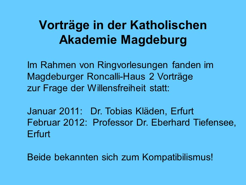 Vorträge in der Katholischen Akademie Magdeburg