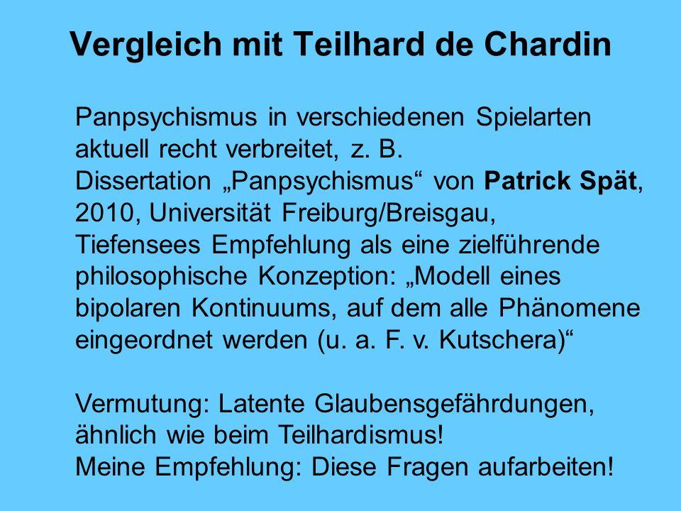 Vergleich mit Teilhard de Chardin