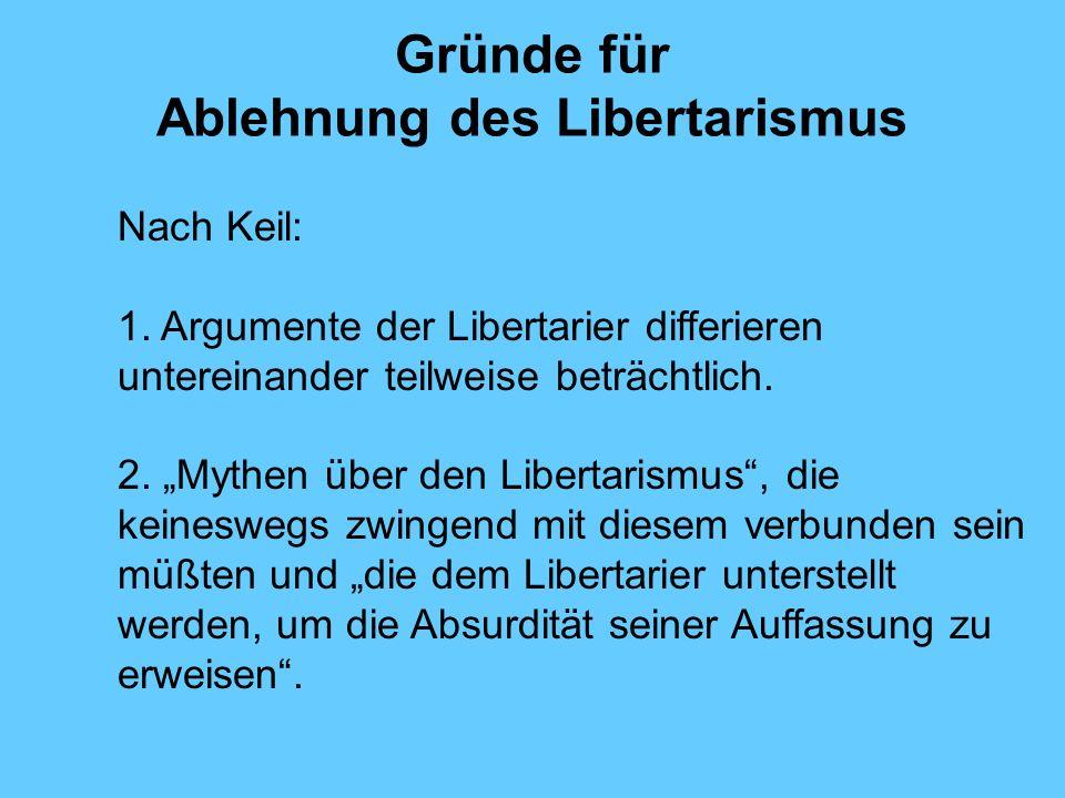 Gründe für Ablehnung des Libertarismus