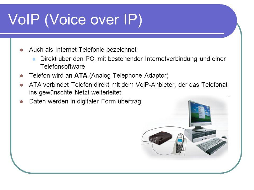 VoIP (Voice over IP) Auch als Internet Telefonie bezeichnet