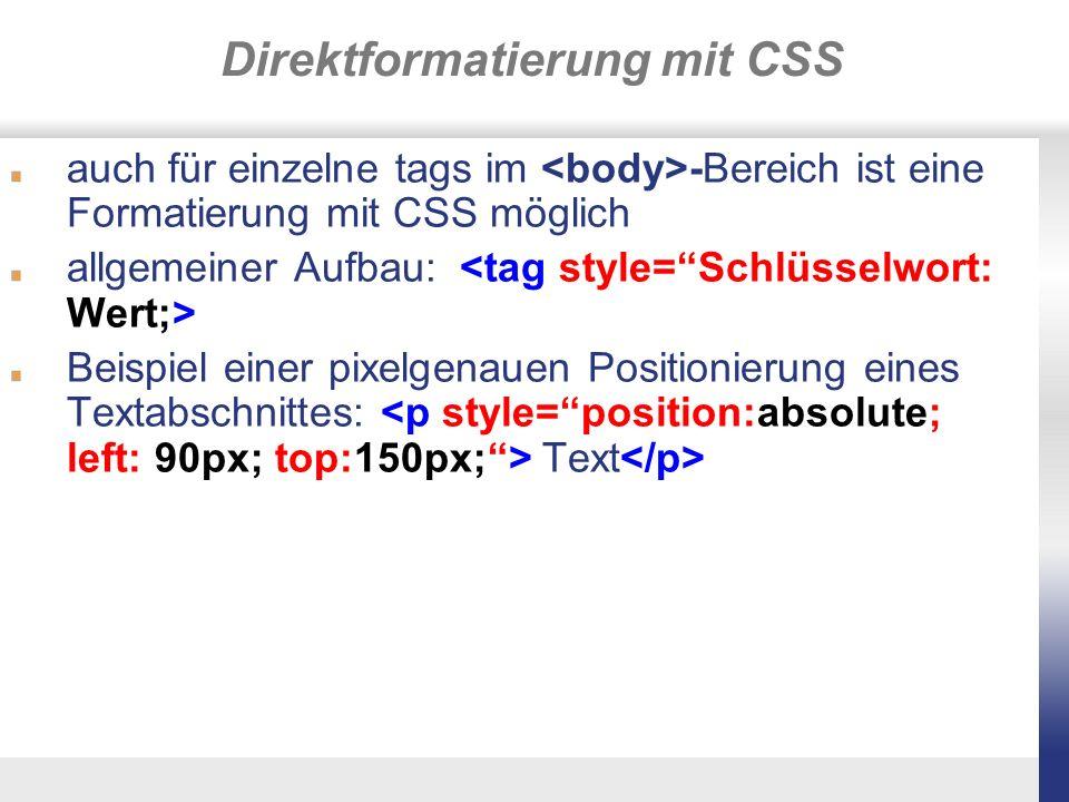 Direktformatierung mit CSS