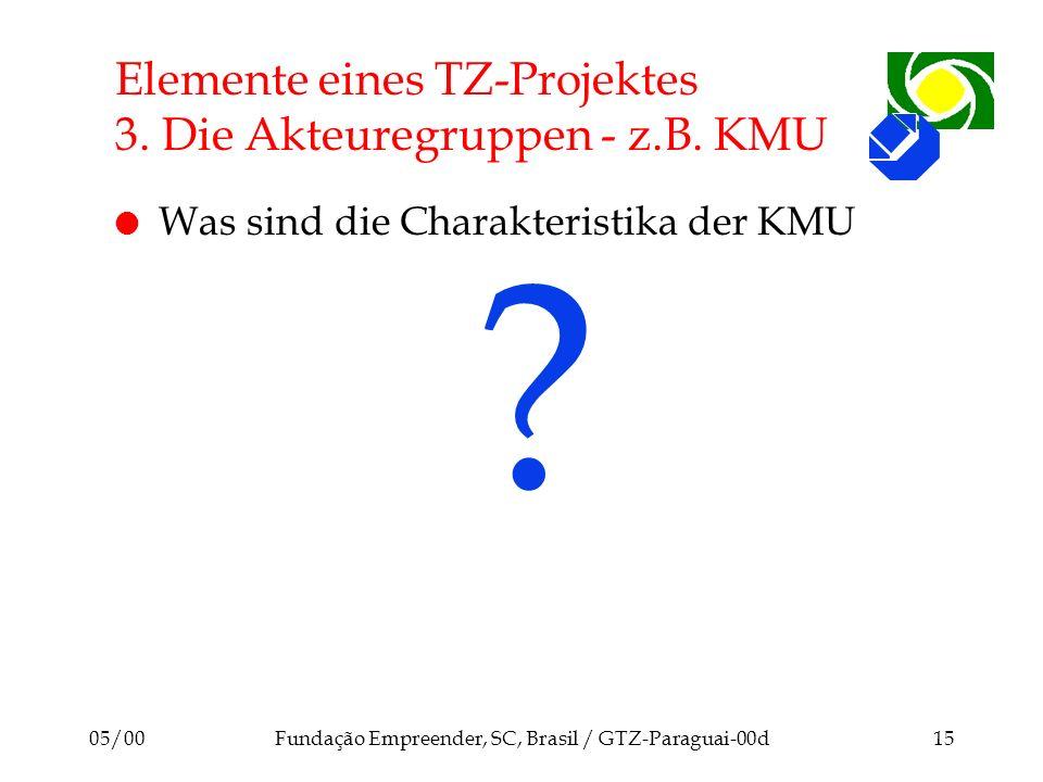Elemente eines TZ-Projektes 3. Die Akteuregruppen - z.B. KMU