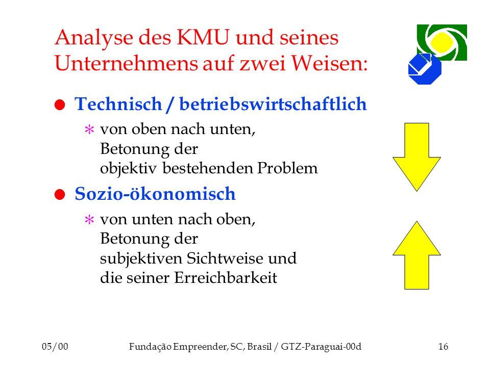 Analyse des KMU und seines Unternehmens auf zwei Weisen: