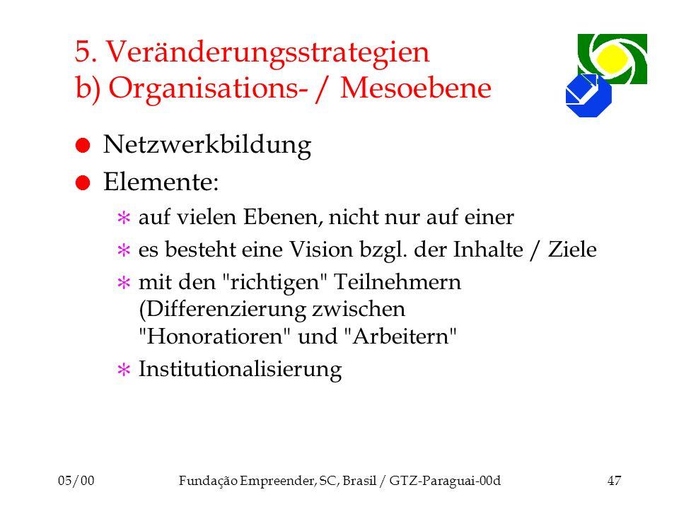 5. Veränderungsstrategien b) Organisations- / Mesoebene