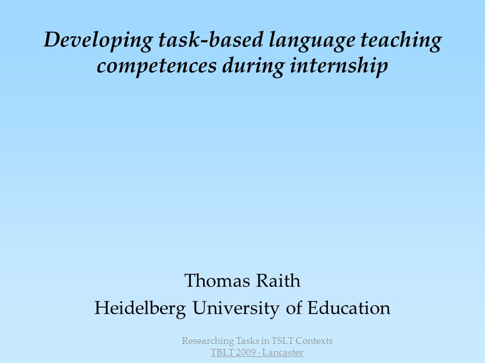 Developing task-based language teaching competences during internship