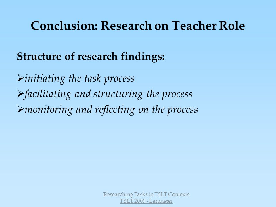 Conclusion: Research on Teacher Role