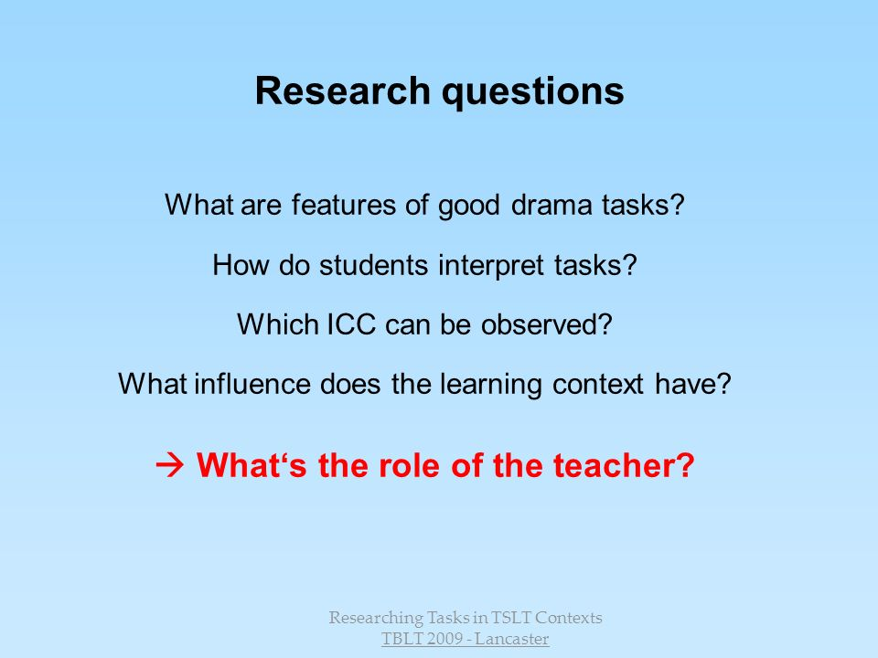  What's the role of the teacher