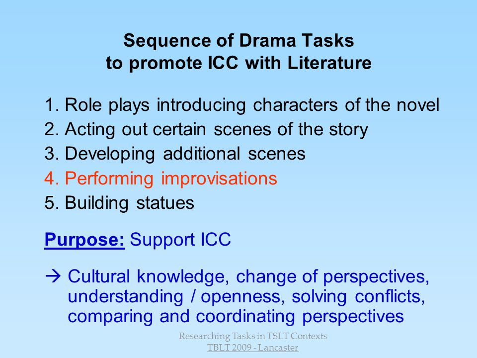 Sequence of Drama Tasks to promote ICC with Literature