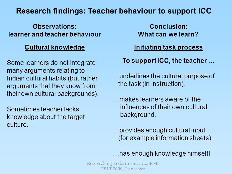 Research findings: Teacher behaviour to support ICC