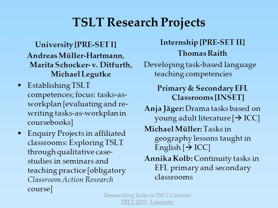 TSLT Research Projects