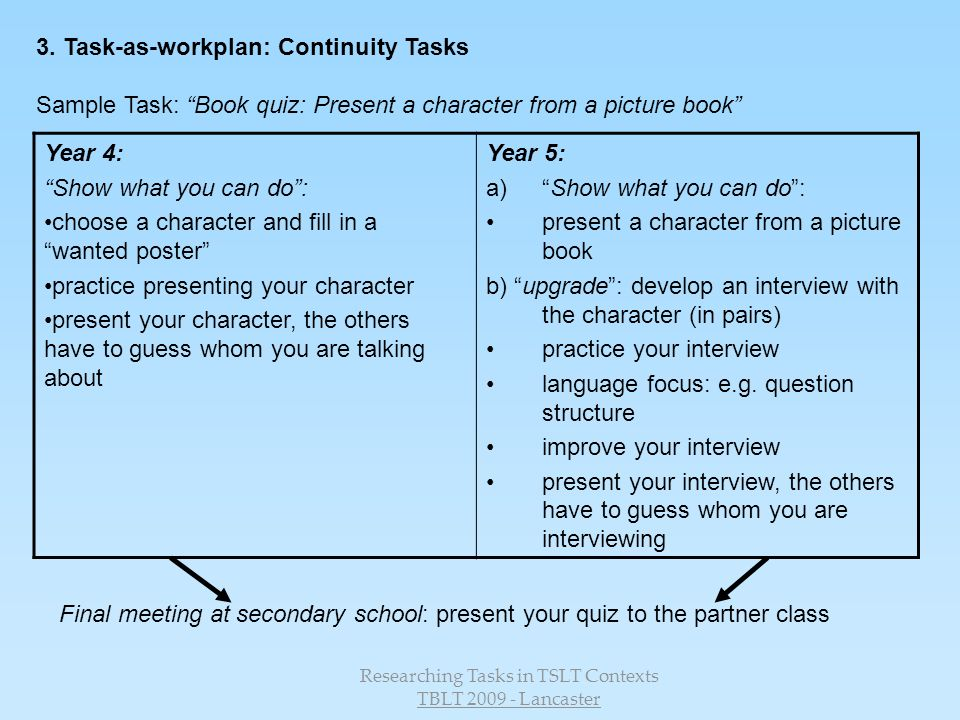 Researching Tasks in TSLT Contexts
