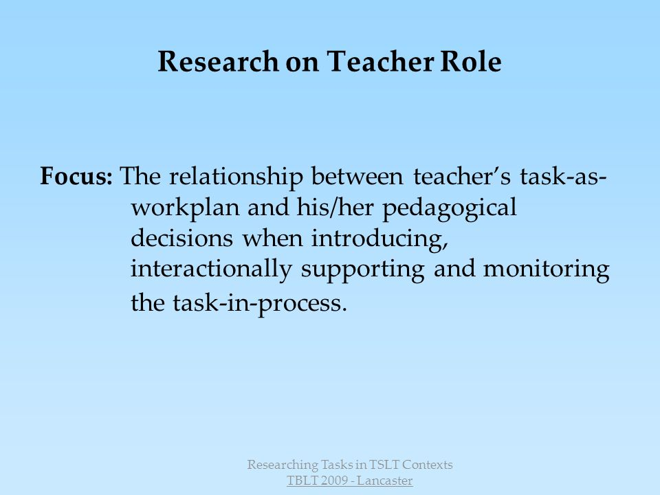 Research on Teacher Role