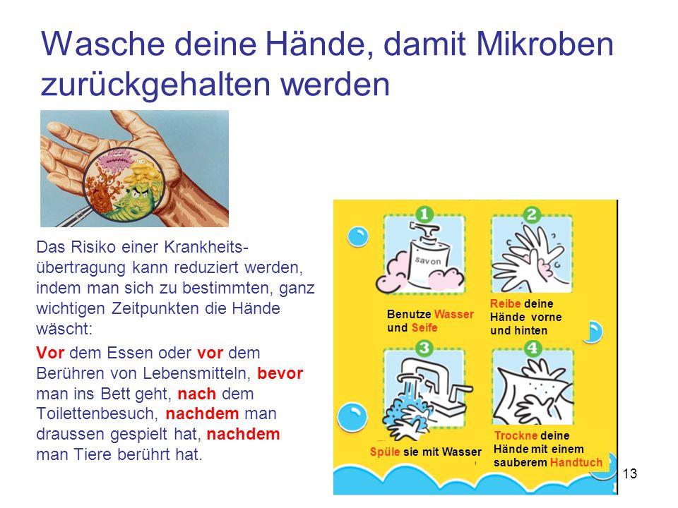 Wasche deine Hände, damit Mikroben zurückgehalten werden